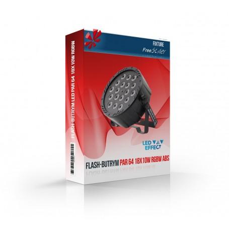 Flash LED PAR 64 18x10W RGBW 4in1 ABS 140W