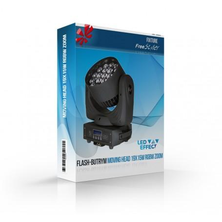 Flash-Butrym MOVING HEAD 19x15W RGBW LED ZOOM